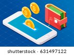 coin drop in phone. wallet... | Shutterstock .eps vector #631497122