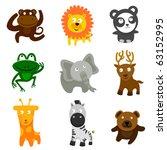 cute wild animals | Shutterstock .eps vector #63152995
