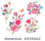 watercolor set of vintage... | Shutterstock . vector #631541612