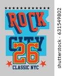 new york rock city t shirt... | Shutterstock .eps vector #631549802