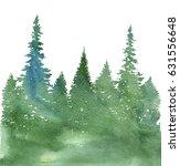 watercolor landscape with fir... | Shutterstock . vector #631556648