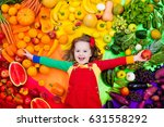 little girl with variety of... | Shutterstock . vector #631558292