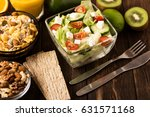 fresh salad with oat flakes.... | Shutterstock . vector #631571168