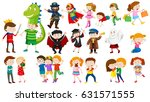 many kids in different costumes ... | Shutterstock .eps vector #631571555
