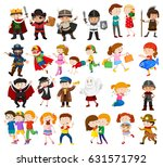 kids in different outfits... | Shutterstock .eps vector #631571792