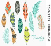 cute vector set of vintage... | Shutterstock .eps vector #631576472