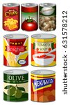 different kinds of food in can... | Shutterstock .eps vector #631578212