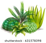 cactus group on white | Shutterstock .eps vector #631578398