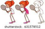 doodle character for tennis... | Shutterstock .eps vector #631578512