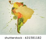 map of south america watercolor ... | Shutterstock . vector #631581182