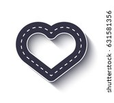 heart shape road icon.... | Shutterstock . vector #631581356