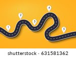 3d winding road on a colorful... | Shutterstock . vector #631581362