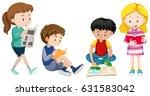four kids reading books... | Shutterstock .eps vector #631583042