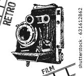 hand drawing retro photo film...   Shutterstock .eps vector #631612862