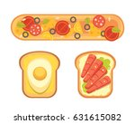 set toasts and sandwich... | Shutterstock .eps vector #631615082