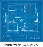blueprint house plan drawing.... | Shutterstock .eps vector #631621922