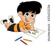 kid drawing a pictures.vector... | Shutterstock .eps vector #631623236