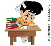 kid doing a homework.vector and ... | Shutterstock .eps vector #631623242