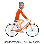 bicycle ride geek hipster... | Shutterstock .eps vector #631625546