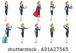 young caucasian stewardess with ... | Shutterstock .eps vector #631627565