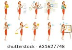 young business woman with many... | Shutterstock .eps vector #631627748