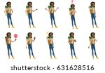 confused african traveler woman ... | Shutterstock .eps vector #631628516