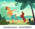 Stock vector happy smiling man character playing ball with his cheerful dog on the beach vector flat cartoon 631630895