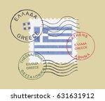 postal stamp symbols ''greece ... | Shutterstock .eps vector #631631912
