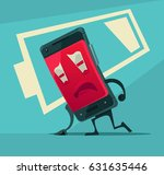 sad unhappy tired smart phone... | Shutterstock .eps vector #631635446
