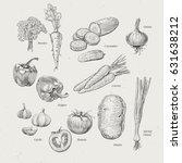 vintage vegetables collection ... | Shutterstock .eps vector #631638212