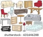furniture doodles set. interior ... | Shutterstock .eps vector #631646288
