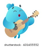 cute monster playing guitar | Shutterstock .eps vector #631655552