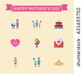 happy mothers day. flat design... | Shutterstock .eps vector #631655702