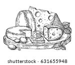 plate of cheese engraving...   Shutterstock .eps vector #631655948