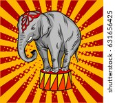Circus Elephant On Pedestal Po...