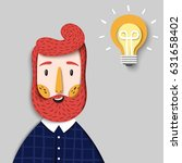 hipster bearded thinking man... | Shutterstock .eps vector #631658402