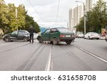 road traffic accident with car... | Shutterstock . vector #631658708