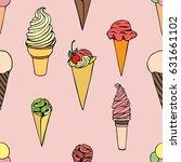 doodle ice cream seamless... | Shutterstock .eps vector #631661102