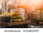 the chef is fried french fries...   Shutterstock . vector #631682495