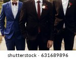 stylish groom with groomsmen in ... | Shutterstock . vector #631689896