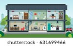 The house with the interior has the sky as the backdrop. | Shutterstock vector #631699466