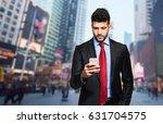 Businessman Holding Mobile Smartphone Using - Fine Art prints