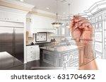 hand drawing custom kitchen... | Shutterstock . vector #631704692