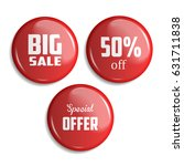 set of glossy sale buttons or... | Shutterstock .eps vector #631711838