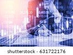 double exposure businessman and ... | Shutterstock . vector #631722176