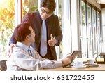 great job  the boss encourages... | Shutterstock . vector #631722455
