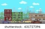 city street. pedestrians and... | Shutterstock .eps vector #631727396