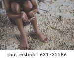 hands barefoot do not wear poor ... | Shutterstock . vector #631735586