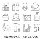 vector icons of makeup tools in ... | Shutterstock .eps vector #631737905