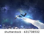 woman riding missile. mixed... | Shutterstock . vector #631738532